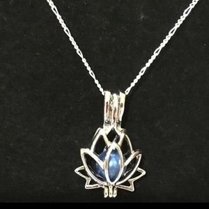 Blue Pearl in a Sterling Silver Charm Necklace